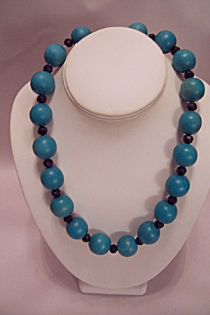Blue Wooden & Black Faceted Rhinestone Bead Necklace