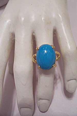 Women's Gold Plated Ring With Oval Turquoise Stone