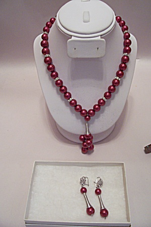 African Made Maroon Bead Necklace Set