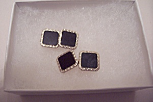 Pair Of Parkroger 10k Gold & Onyx Cuf Links