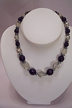Black & Clear Faceted Beads Necklace