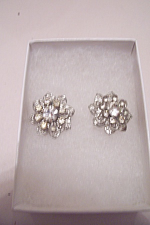 Pair Of Rhinestone Screw-on Type Earrings