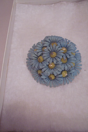 Light Blue Plastic & Metal Floral Brooch