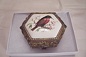 Bird Decorated Small 3-toed Gold Tone Metal Jewelry Box