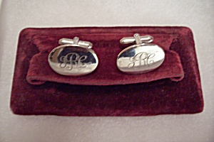 Men's Vintage Silver Tone Initial Jrc Cuff Links