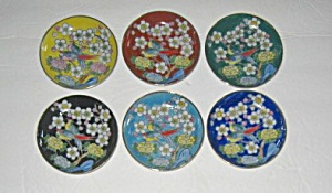 6 Vintage 1960`s Japan Hand Painted Floral Coasters