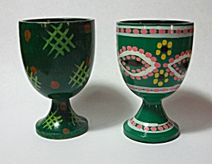 2 Different 1950`s Green Japan Egg Holders
