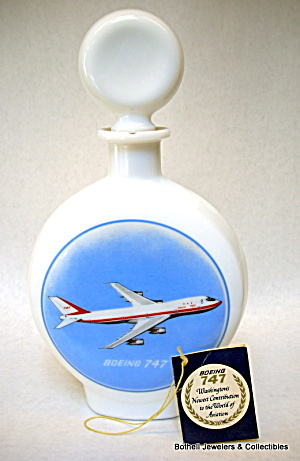 'boeing 747' Jet Airplane Whiskey Decanter 1969