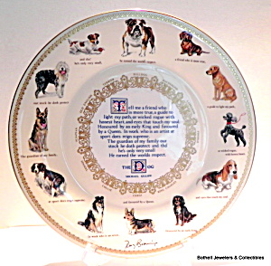 'the Dog' Bone China Vintage Plate By Mary Browning