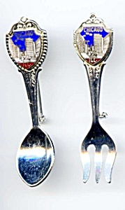 Chicago Skyline Spoon And Fork Brooch Set