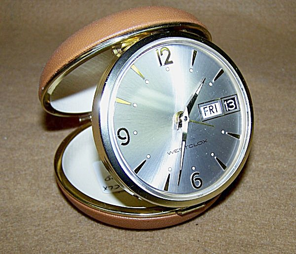 Vintage Westclox Round Face Travel Alarm W/day & Date