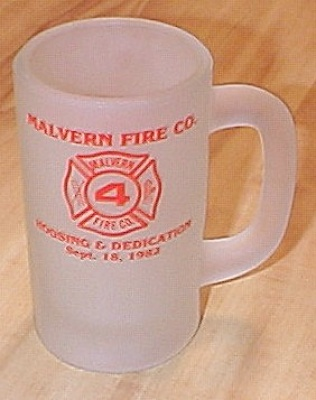 1982 Malvern Fire Company Commemorative Glass Mug, Malvern, Pa A