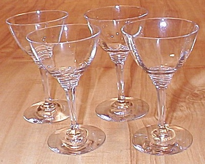 4 Signed Heisey Glasses Wabash Stems Cocktail Or Wine C