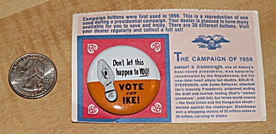 Reproduction 1956 Eisenhower Presidential Election Campaign Pin
