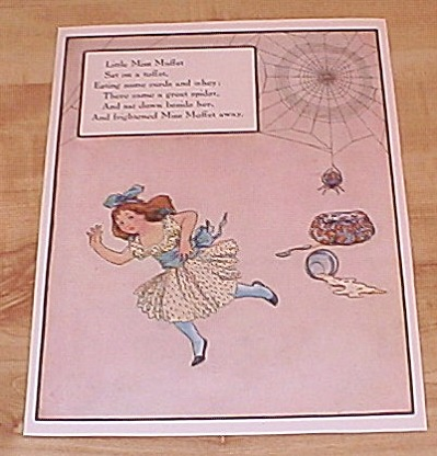 Little Miss Muffet, 3 Wise Men Of Gotham 1915 Mother Goose Book Print