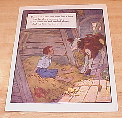 Boy And Calf & Primrose Hill 1915 Mother Goose Book Print Volland Ed