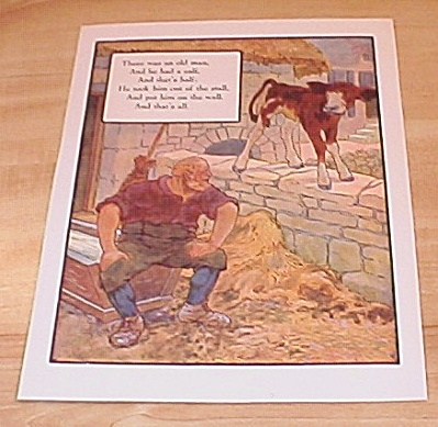Calf And Wall & Man And Robbers 1915 Mother Goose Book Print Volland