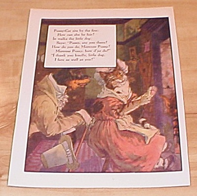 Pussy-cat & Bow Wow Wow 1915 Mother Goose Book Print Volland Edition