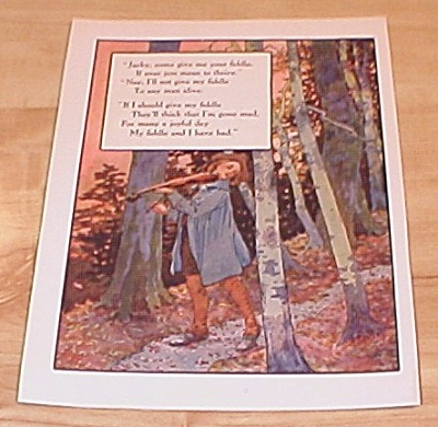 Jacky Fiddle & King Arthur 1915 Mother Goose Book Print Volland Ed.