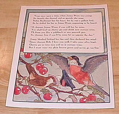 Jenny Wren & Man And Wife 1915 Mother Goose Book Print Volland Ed