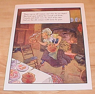 Old Woman Victuals & News Of Day 1915 Mother Goose Book Print Volland