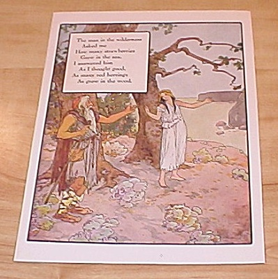 Man In Wilderness & Hark Hark 1915 Mother Goose Book Print Volland Ed
