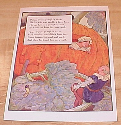 Peter Pumpkin Eater & Lady-bird 1915 Mother Goose Book Print Volland
