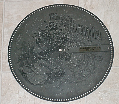 "The Olympia 15.75"" Metal Music Box Disc Phonograph Record #4414"
