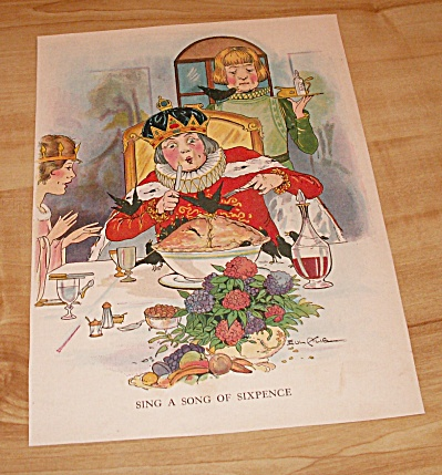 Sing A Song Of Sixpence Antique 1927 Mother Goose Book Illustration