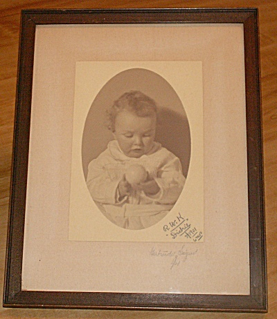 Framed Signed B&w 1921 Baby With Ball Photograph By Gertrude Sayer