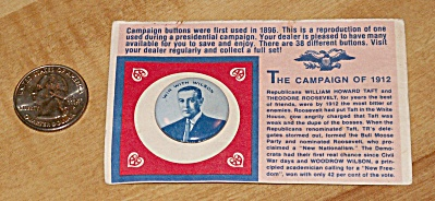 Reproduction 1912 Wilson Presidential Election Campaign Pin