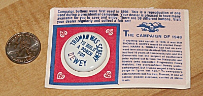 Reproduction 1948 Dewey Presidential Election Campaign Pin