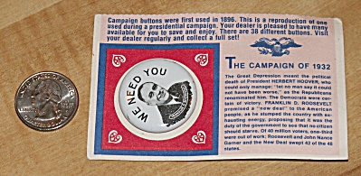 Reproduction 1932 Roosevelt Presidential Election Campaign Pin