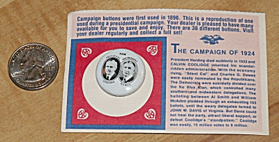 Reproduction 1924 Coolidge Presidential Election Campaign Pin