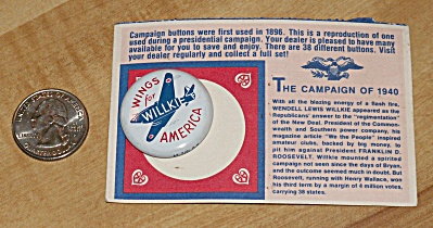 Reproduction 1940 Willkie Presidential Election Campaign Pin