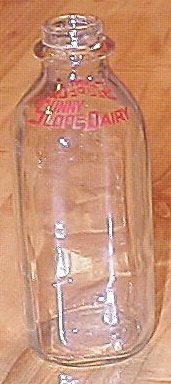 Vintage 1950s Clear Glass Quart Milk Bottle, Sunny Slope Dairy
