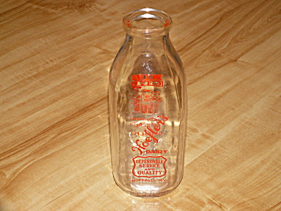 Vintage Clear Glass Quart Milk Bottle, Hoefler's Dairy, Buffalo, Ny