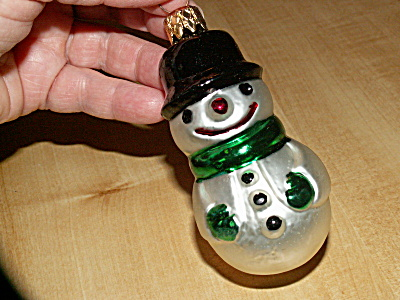 Vintage Germany Frosty The Snowman Mercury Glass Christmas Ornament