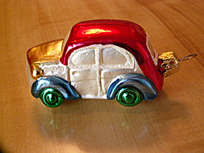 Vintage Germany Car Mercury Glass Christmas Ornament Wht Mica Glitter