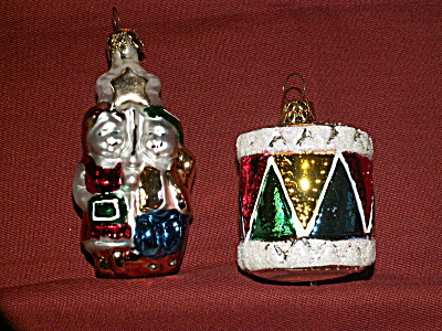 2 Vintage Mercury Glass Christmas Ornaments Drum & Children With Star