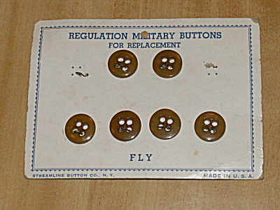 Vintage Regulation Military Buttons 6 Of 8 Fly On Card, Streamline Ny