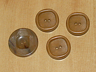 4 Amber & Tiger Stripe Vintage Bakelite Buttons 1 1/16 & 7/8 Inches