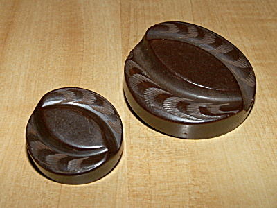 2 Vintage Carved Bakelite Buttons, Mother Daughter Set 1 5/8 & 1 1/16