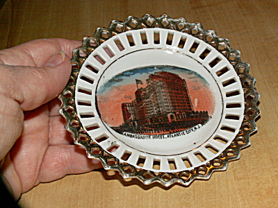Old Small Souvenir China Dish, Ambassador Hotel, Atlantic City, Nj