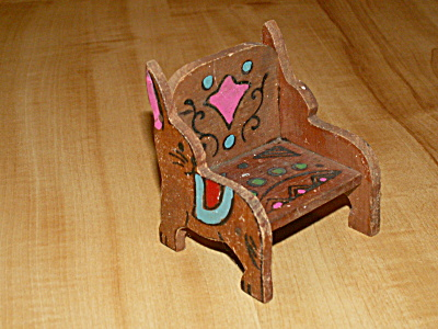 Vintage Toy Bunny Rabbit Chair, Dollhouse Miniature Wood Furniture