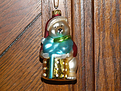 Vintage Holiday Polar Bear Mercury Glass Christmas Ornament Red Coat