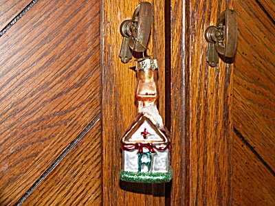 Neat Vintage Mercury Glass Christmas Ornament Church Building