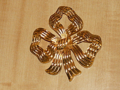 Vintage Signed Monet Large Ribbon Bow Pin Brooch Costume Jewelry