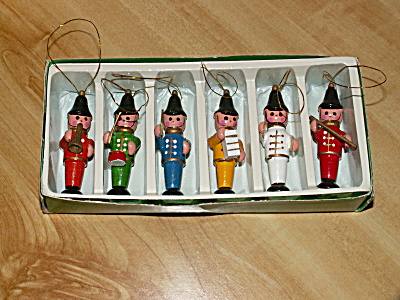 Set Of 6 Vintage Wood Christmas Ornaments Band Musicians Drum Horn