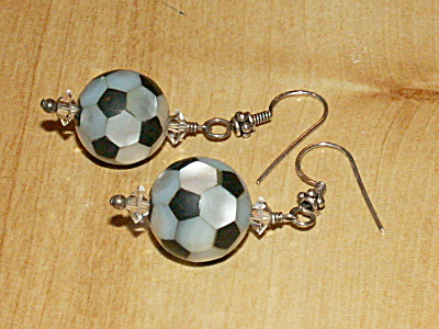 Mother Of Pearl Shell Soccer Ball Dangle Drop Pierced Earrings